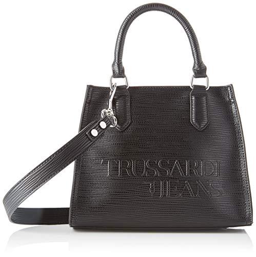 Trussardi Jeans T-Tote SM Saffiano High Freque, Borsa Donna, Nero (Black), 10x20x25 cm (W x H x L)