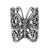 Sterling Silver Large Victorian Butterfly Ring - Size 8
