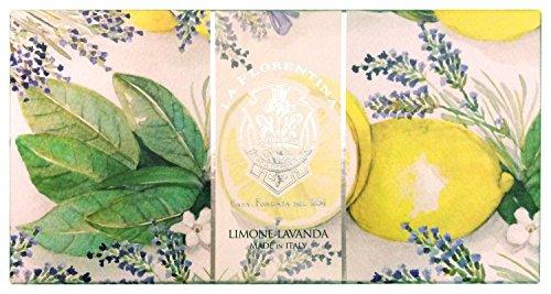 La Florentina: 'Limone Lavanda' Bar Soaps, Lemon Lavender Scent, 'Bellosguardo' Collection - Pack of 3 Soaps, 5.3 Ounces (150g) Each, Gift Box [ Italian Import ]