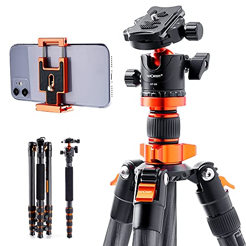 "K&F Concept 68"" Carbon Fiber Camera Tripod,SA255C1 Lightweight Compact Tripod with 360 Degree Ball Head,Quick Release Plate,Detachable Monopod 10KG Load Capacity for SLR DSLR Digital Camera/Camcorder"