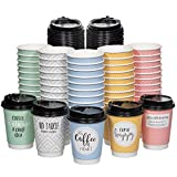 Disposable Coffee Cups With Lids - (Double Wall) 12 oz Coffee Cups To Go (50 pack) Paper Coffee Cups With Lids 5 Quotes and Assorted Designs | Recyclable and Eco-Friendly| Hot Coffee Cups with Lids