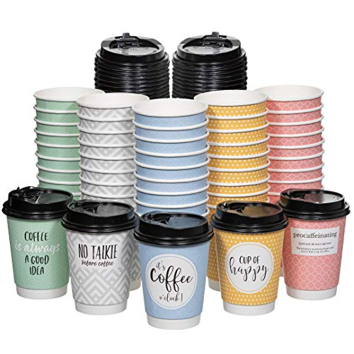 Disposable Coffee Cups With Lids - (Double Wall) 12 oz Coffee Cups To Go (50 pack) 5 Quotes and Assorted Designs | Recyclable and Eco-Friendly| Hot Coffee Cups with Lids | Insulated Coffee Cups
