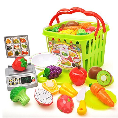 Pueri Pretend Play Food Toys Cutting Fruits Vegetables Pretend Food Playset Fun Kitchen Toy Educational Puzzle Learning Toy Kids Basic Skills Development Toys for Children Girls Boys (C)