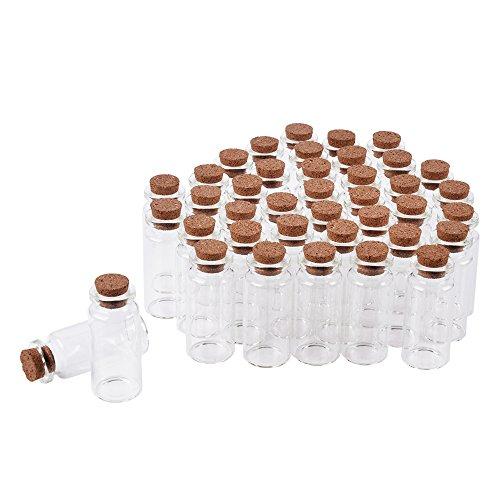 SHiZAK - Botes de cristal con tapones de corcho para cosméticos, decoración de manualidades, bodas, regalos, regalos de fiesta, accesorios de almacenamiento (40 unidades, 10 ml)