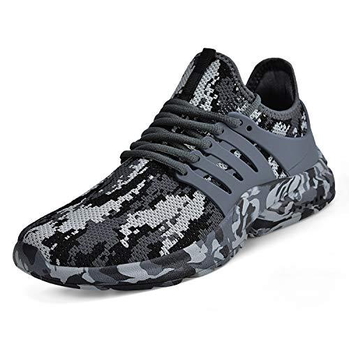 ZOCAVIA Unisex Damen Herren Schuhe rutschfest Turnschuhe Ultraleichte Laufschuhe Atmungsaktive Outdoor Sportschuhe Wanderschuhe Camouflage grau 41EU
