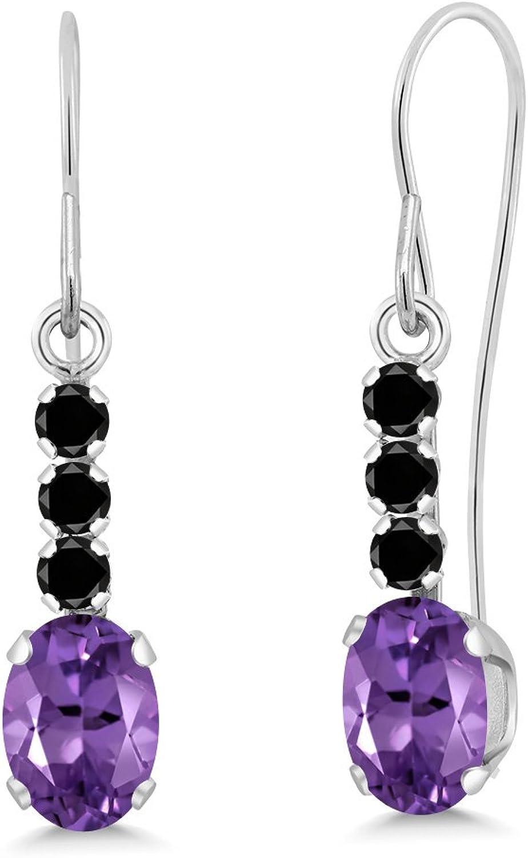 1.10 Ct Oval Purple Amethyst Black Diamond 10K White gold Earrings