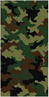 3D Decorative Film Privacy Window Film No Glue,Camo,Fashionable Graphic Uniform Inspired Soldier Clothing Wavy Design,Forest Green Light Green Brown,for Home&Office