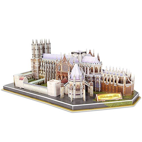 CubicFun 3D Puzzles for Kids Adults London Westminster Abbey Souvenir Puzzle UK Architectures Model Kit, Landmark Papercraft Decoration for Adults and Kids Age 10-12, 145 Pieces