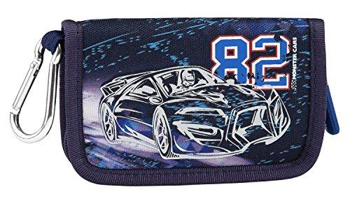 Monster Cars 6539 Portefeuille avec Mousqueton, Bleu