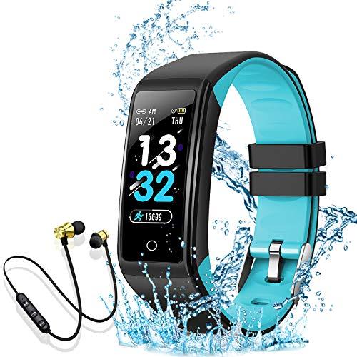 Smartwatch, Reloj Inteligente Mujer Hombre Niños Pulsera, Pulsera de Actividad Inteligente con Contador de Caloría Monitoreo Pulsómetros + Auriculares Bluetooth Deportivos, para Android iOS (azul)