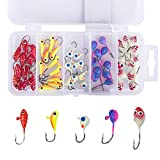 GOTURE ice fishing jigs glow ice fishing walleye lures lures for freshwater spoons lead heads jig metal lures kit set panfish small jigs Lures for Bass Jig Head Swimbait Treble Hooks chatter bait worm