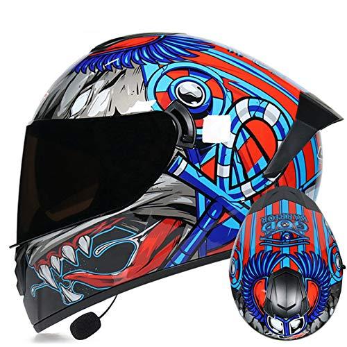 ZLYJ Casco De Motocicleta Bluetooth, Aprobado por ECE, Antiniebla, Doble Visera, Casco Integral para Scooter, Casco Unisex Abatible para Bicicleta De Calle, Carreras, Motocross 21,M(57-58cm)