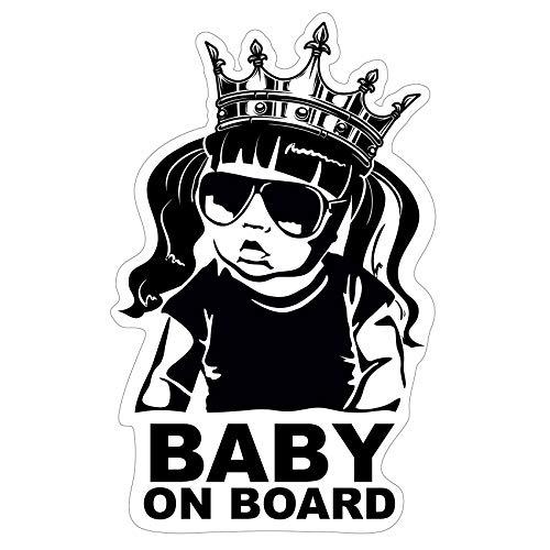Baby on Board Aufkleber 12x7cm Auto Sticker -Finest Folia Autoaufkleber UV- Wetterfest Wasserfest Hangover R045 (Mädchen, Baby on Board Krone)