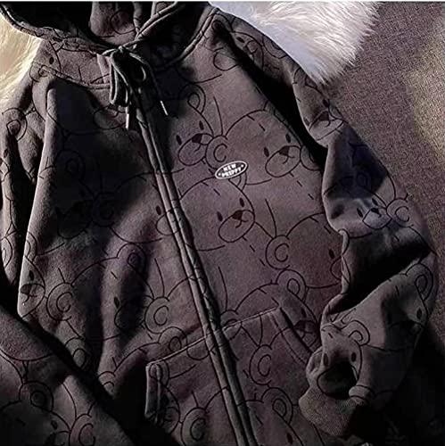 Sudadera con capucha con cremallera de oso de dibujos animados para mujer sudadera Harajuku de gran tamaño retro para mujer suéter con cremallera de talla grande a la moda kawaii para mujer-2_XL