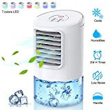 Personal Air Conditioner Fan, Portable Air Cooler, Mini Air Conditioner Evaporative Cooler For Desk Top With 2H/4H Timer, Adjustable 3 Speeds Misting Personal Space Cooler For Home, Office
