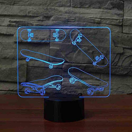 Novelty 3D LED Skateboarding Shape Table Lamp USB Skateboard Night Light 7 kleuren Change Bedroom Atmosphere Decor Cool Boy Gifts Remote