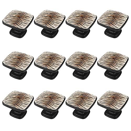(12 piezas) pomos de cajón para cajones, tiradores de cristal para gabinete con tornillos para armario, oficina, armario, piel de tigre de 35 mm