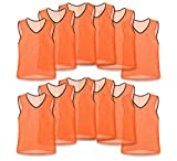 Unlimited Potential Nylon Mesh Scrimmage Team Practice Vests Pinnies Jerseys for Children Youth Sports Basketball, Soccer, Football, Volleyball (12 Pack, Orange, Youth)