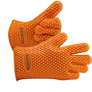 KXCFCYS Heat Resistant Silicone Gloves Kitchen Bakeware Oven Mitts Pot Holders Silicone Cooking BBQ Pot Holder Mitt Grill Gloves (1 pair) (orange)