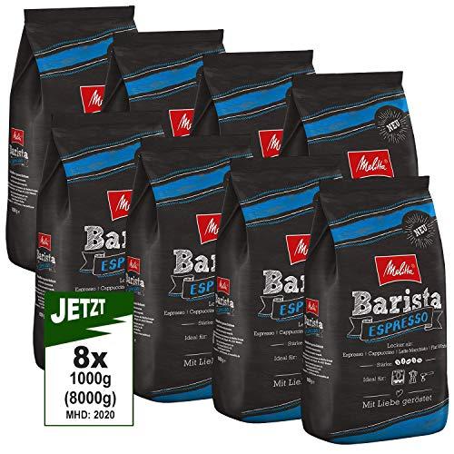 Melitta Barista Espresso, Ganze Kaffeebohnen 8x 1000g (8000g) - kraftvoller und würziger Espresso Kaffee