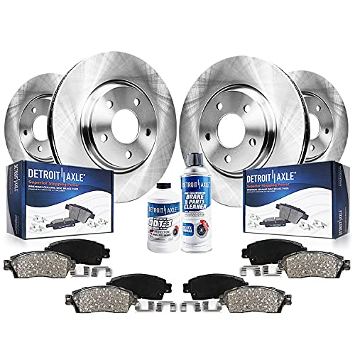 Detroit Axle - Front and Rear Disc Rotors Ceramic Brake Pads w/Hardware Brake Cleaner Fluid for 2005 2006 2007 2008 2009 Ford Mustang V6 Only (Will...
