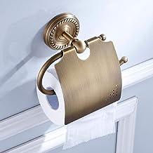 YSJ European Retro Style toiletrolhouder, toiletrolhouder met deksel geborsteld koper aan de muur gemonteerd, montage Hard...