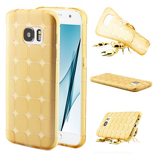 ScorpioCover Silikon Schutz Hülle kompatibel mit Samsung Galaxy S7 TPU Schutz Tasche Backcover Chocolate Style Hülle Handy Hülle transparent Champagner Gold