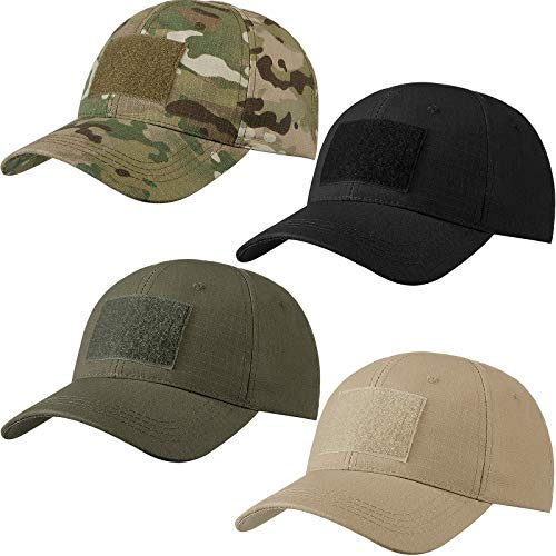 Geyoga 4 Pieces Military Patch Hat Tactical Army Hats Adjustable Operator Cap Breathable Baseball Cap for Men Women Outdoor