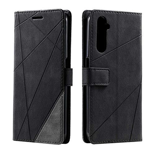 Hülle für Realme 6 Pro, SONWO Premium Leder PU Handyhülle Flip Hülle Wallet Silikon Bumper Schutzhülle Klapphülle für Realme 6 Pro, Schwarz
