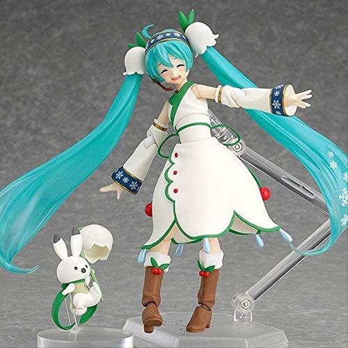 KIJIGHG Figuras Anime Hatsune Miku Figma Snow Miku Snow Bell Ver Hatsune Miku Figura Juguetes Muñecas Estatuilla Anime Personaje de Dibujos Animados Modelo 13Cm