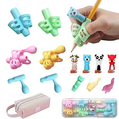 15 Stück Bleistift Griffe + Mäppchen, Stifthalter für Kinder Haltungskorrektur, ergonomische Schreibhilfe, Mit Federtasche, Bleistifthalter Stift Grip Werkzeug Bildung Geschenk