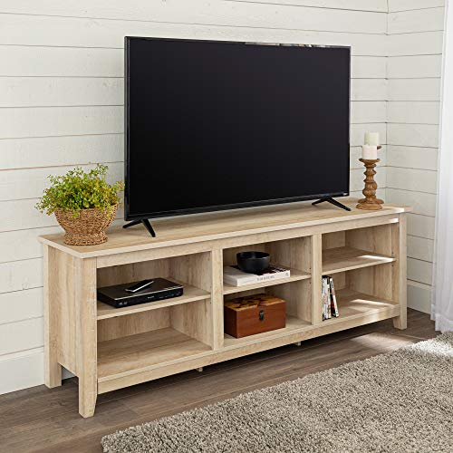 Walker Edison Wren Classic 6 Cubby TV Stand for TVs up to 80 Inches, 70 Inch, White Oak