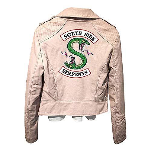 Tanwenling33 Riverdale Chaquetas De Cuero Mujeres Southside Serpents Moto Biker Chaqueta De Motociclista de Cuero de Las Mujeres Abrigo Cosplay Rojo Rosa Negro