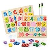 Colmanda Puzzle en Bois, 2 Pcs Alphabet en Bois et Numéro d'apprentissage Jouet éducatif Puzzle Alphabet en Bois Numéro Puzzle pour L'apprentissage Ludique des Nombres