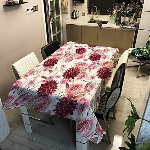 XXDD Mantel de Flores con Estampado 3D Mantel Impermeable Rectangular Cocina decoración del hogar Nappe de Table rectangulaire A1 140x180cm
