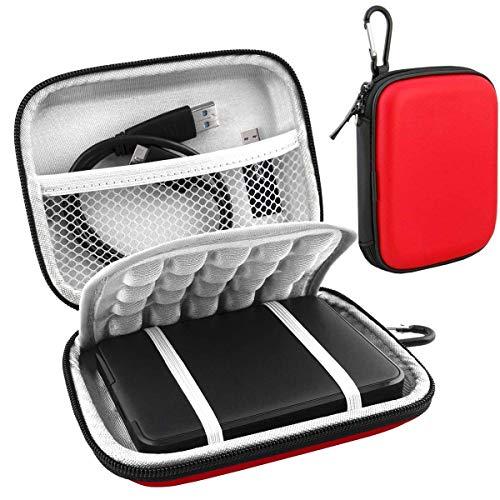 Lacdo Externe Festplattentasche für WD Elements/WD My Passport, AV TV/Ultra for Mac/WD Gaming Tragbare Externe Festplatte 500GB 1TB 2TB 3TB 4TB 5TB 2.5 Zoll Western Digital HDD Tasche, Rot