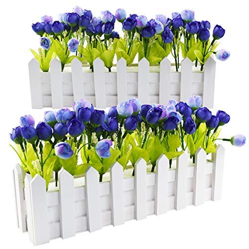 XONOR Piante di Fiori Artificiali all'aperto – Rose e Rosebuds in Vaso di Palissandro per Interni Ufficio Decorazione Principale