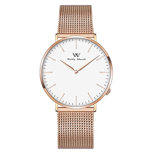 Welly Merck Damen Analog Uhren Schweizer Quarzwerk Mit Roségold Edelstahl Armbänder W-C5M4
