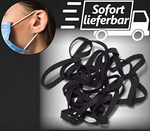Kolor-Knajp 5 Meter Gummiband Schwarz Gummilitze Wäscheband Gummizug Flachgummi Ideal für Masken 0,5 cm