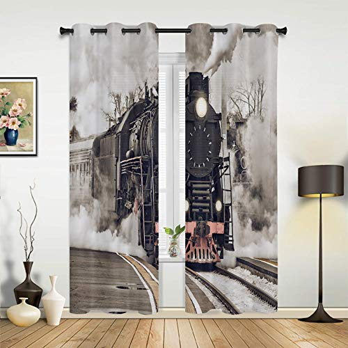 "Beauty Decor Window Sheer Curtains for Bedroom Living Room Classic Vintage Train Steam Train Railroad Tracks Elegant Window Drapes Grommet Top Airy Window Treatment Set of 2 Panels- 52""x96"""