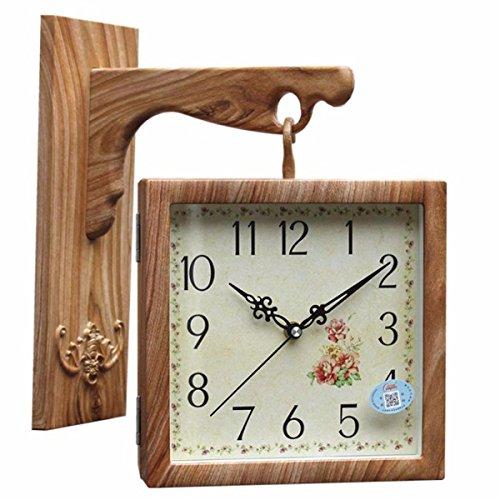 Wall Clock WERLM Persoonlijkheid Design Home Decor Clock Moderne kunst hout mux duplex wandklok Apart woonkamer gang slaapkamer quartz klok dubbelzijdig vierkant bell, A