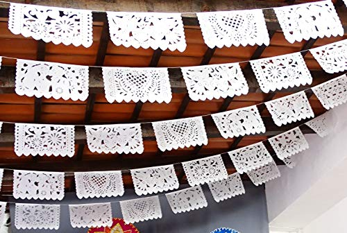 5 Pk Mexican wedding decorations, 50 Panels of White Papel Picado Flags for weddings, rehearsal dinners 60 ft long Mexican Bridal Shower Paper Picado TISSUE PAPER WS400
