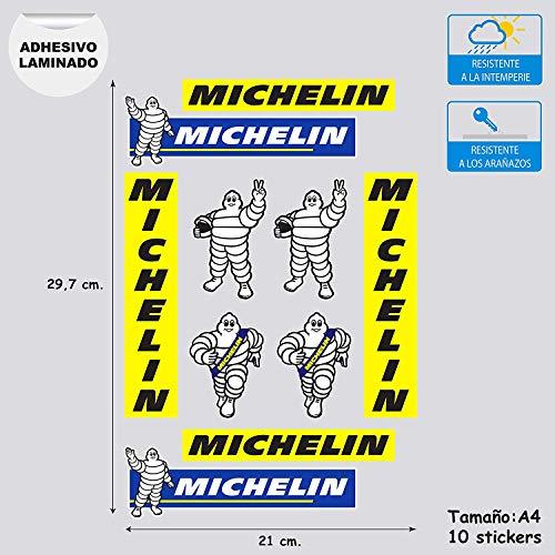 stickersracing X10 Pegatinas Adhesivo Sponsor Compatible con Michelin Impresión Laminado mas protección para Coches Motos Hoja A4 (10 Pegatinas)