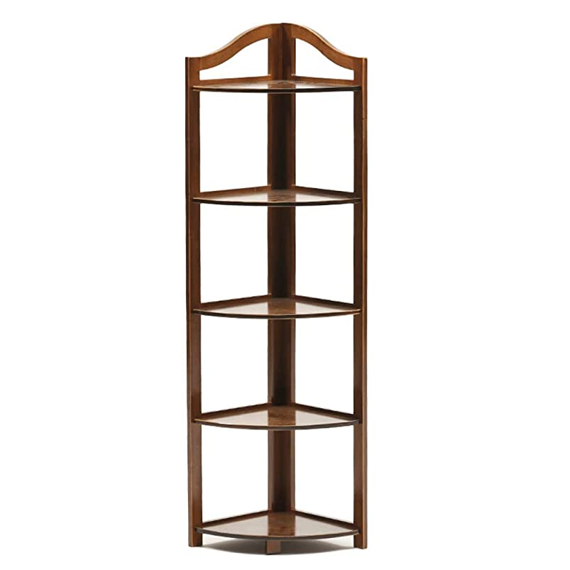 Xiao Min Bookshelf - Solid Wood, Corner Frame, New Chinese Corner Flower Stand, partition Vintage Living Room Shelf, Floor Stand, Storage Rack Bookshelf Display Stand (Size : 130x31cm) fsxccotg632935