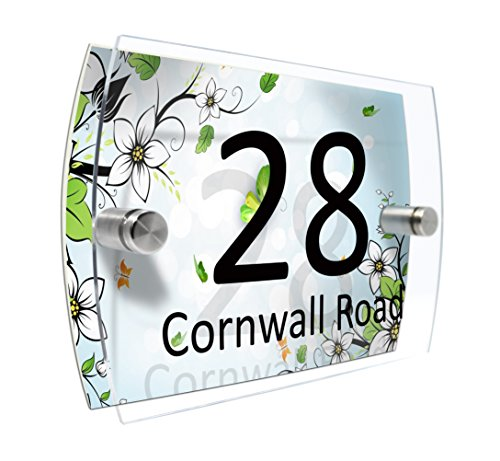 CS Printing House Number Sign Plaque Garden Glass Effect Acrylic Sign Door Plate Marble Wall Display 2 Part Acrylic (Summer flowers)