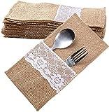 Auped 40 bolsas de yute natural para cubertería, boda, vintage, arpillera, para cubiertos, decoración de mesa para bodas, fiestas y cumpleaños