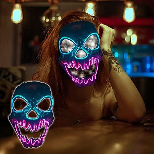 Drisubt Máscara de LED de Halloween, Máscara De Calavera, Máscara LED que brilla intensamente, Máscaras De Luz De Miedo, Para Festival Navidad Disfraz, Para Niños Adultos (Unicornio de fuego)
