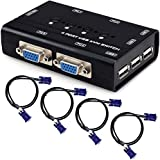 TCNEWCL KVM Switch, USB e VGA Commutatore con 4 Cavi KVM, per PC Monitor Tastiera Mouse Scanner Stampante