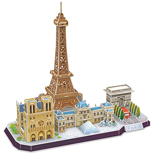 CubicFun 3D Puzzle for Adults and Kids Paris Cityline Architecture Building Model Kits Collection Gift for Women and Men, Eiffel Tower Notre Dame de Paris The Louvre 114 Pieces