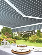 Greenhurst Patio Awning: 3 Metre Wide: Fully Adjustable: Easy To Instal: Grey Stripe